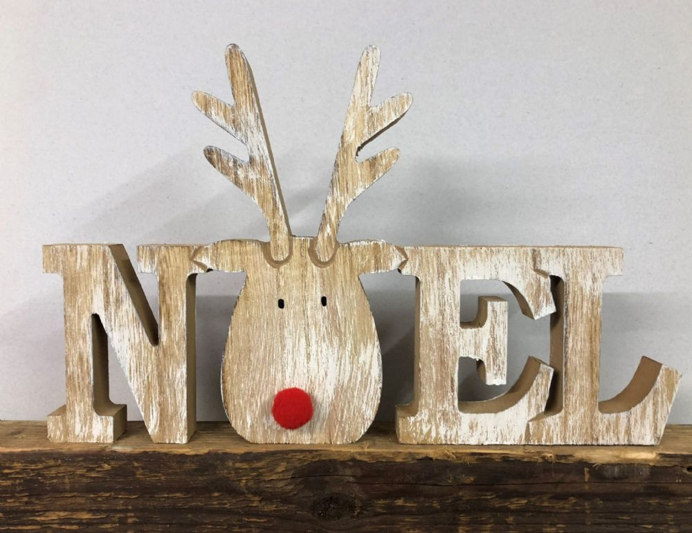 Chunky Wooden Reindeer NOEL Ornament with Fluffy Red Nose